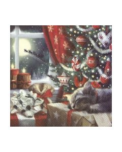 Салфетка (SN0075) 33x33, CAT IS WAITING FOR CHRISTMAS