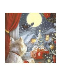 Салфетка (SN0163) 33x33, DOG IS WAITING FOR CHRISTMAS
