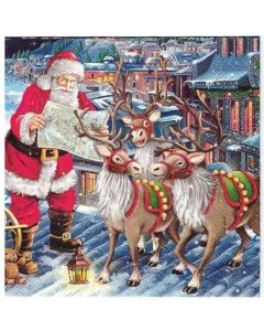 Салфетка (SN0305) 33x33 Santa with Relndeers