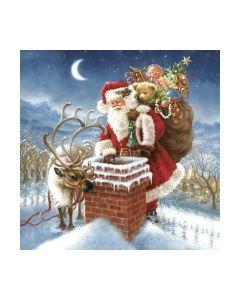 Салфетка (SN0331) 33x33 Santa Claus & Chimney