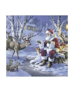 Салфетка (SN0352) 33x33,Santa in Forest