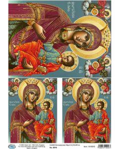 Декупажна хартия - А4 Класик 55 гр - Дева Мария с младенеца