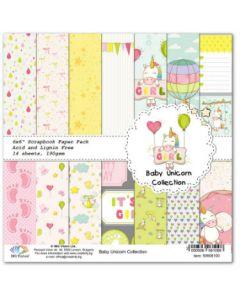 К-т. дизайнерски картони 15x15cm 14 листа 14 дизайна 190gr - Baby Unicorn Collection