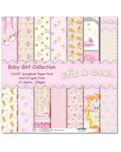 К-т дизайнерски картони 30 x 30 см, 14л, 190 гр. - Baby Girl Collection ( 51202200)