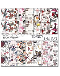 К-т дизайнерски картони 30 x 30 см, 14л, 190 гр. - Trendy Fashion Collection