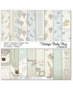 К-т дизайнерски картони 30 x 30 см, 16л, 190 гр. - Vintage Baby Boy