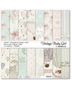 К-т дизайнерски картони 30 x 30 см, 16л, 190 гр. - Vintage Baby Girl