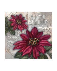 Салфетка (SN0775) 33x33, Flores de la Navidad red