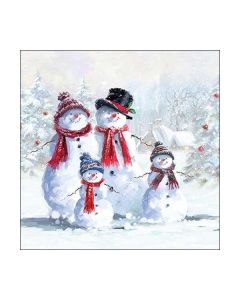 Салфетка (SN0908) 33x33, Snowmen With Hat