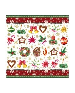 Салфетка (SN0912P) 33x33, Christmas Parts Red
