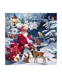 Салфетка (SN0915) 33x33, Santa On Bench