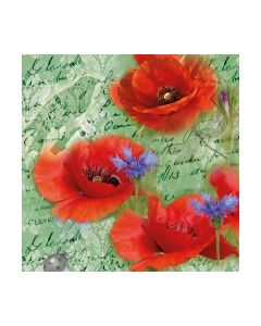 Салфетка (SN0940) 33x33, Painted Poppies Green