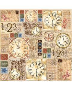 Stamperia - Оризова хартия за декупаж (DFT180) 50x50 см, 14гр., Часовници