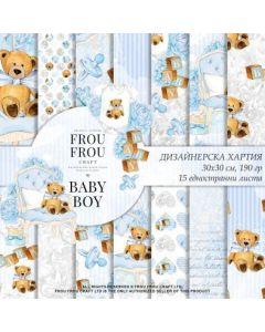 К-т дизайнерски скрапбукинг - FROU FROU - Baby Boy 30x30 cm /15 едностранни дизайна, 190 гр