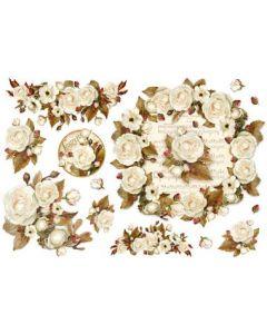 Stamperia - Оризова хартия за декупаж (DFS346), 48x33, Бели рози