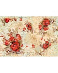Stamperia - Оризова хартия за декупаж (DFS352), 48x33, Червени рози и писма