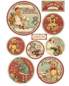 Stamperia - Оризова хартия за декупаж (DFSA4198), A4, 28гр., Teddy Bear spheres