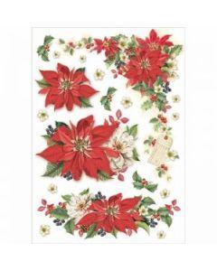 Stamperia - Оризова хартия за декупаж (DFSA4310), A4, 28гр., Christmas Poinsettia