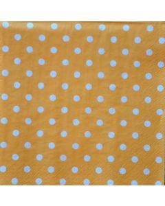 Салфетка (S1023) 33х33 Оранжева с бели точки