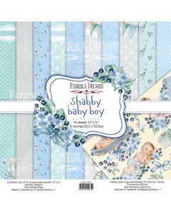 К-т дизайнерски скрапбукинг картони 30,5 x 30,5 см, 10 бр, 200 гр. Shabby Baby Boy Redesign