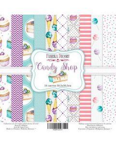К-т дизайнерски скрапбукинг картони 30,5 x 30,5 см, 10 бр, 200 гр. Candy Shop