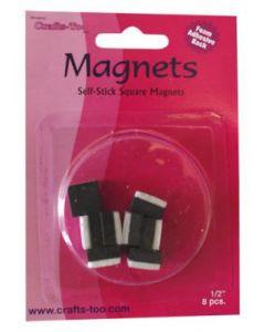 Магнити черни, самозалепващи 8 бр - 10х10 mm