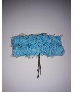 Букет рози от фоам с тюл- синьо - 2,5см/12бр букет