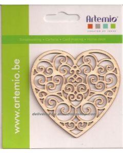 Дървени декоративни фигурки - Сърце 8 см, 3 бр.