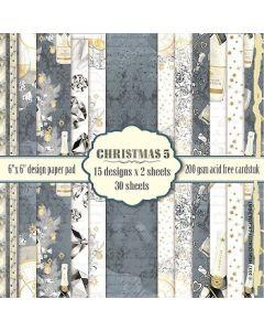 "Коледни дизайнерски скрапбукинг картони 6"" x 6"", 30 л, 200 гр., Christmas 5"