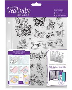 К-т от 16бр прозрачни дизайнерски печати с пеперуди, А5