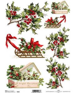 ITD RICE PAPER A4 - Christmas holly