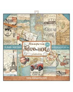 К-т дизайнерски скрапбукинг картони 30,5 x 30,5 см, 10 бр, 170 гр, Around the World (sbbl28 N)