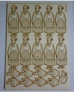 Комплект с елементи от бирен картон - Момиче в носия 0066