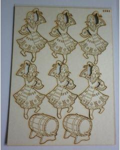 Комплект с елементи от бирен картон - Народно момиче 0085