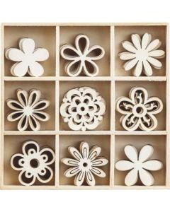 Дървени елементи - цветя, 45 бр. (1103)