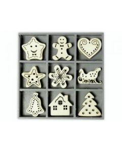 Дървени елементи - Коледни фигурки 1, 45 бр. (1024)